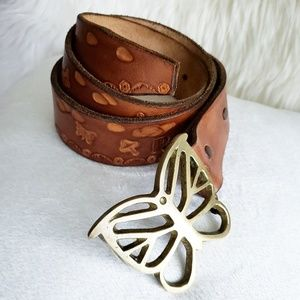 "Vintage Leather Belt Butterfly Brass Buckle ""BARB"""